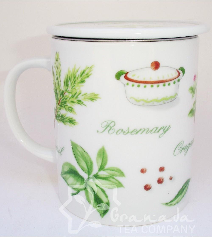Mug con filtro blanca decoración hierbas
