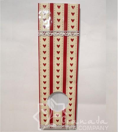 Bolsa para té con ventana decoración corazones pequeños