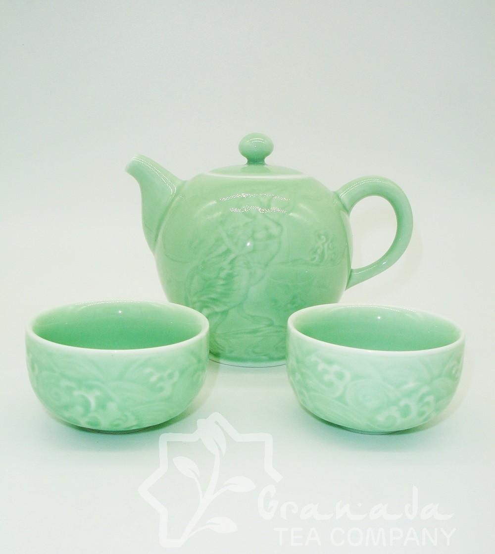 Mini juego de té Turquesa de porcelana.