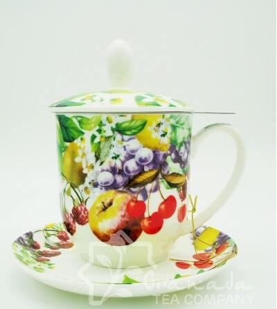 Mug Franzi de porcelana con filtro, 350 ml.
