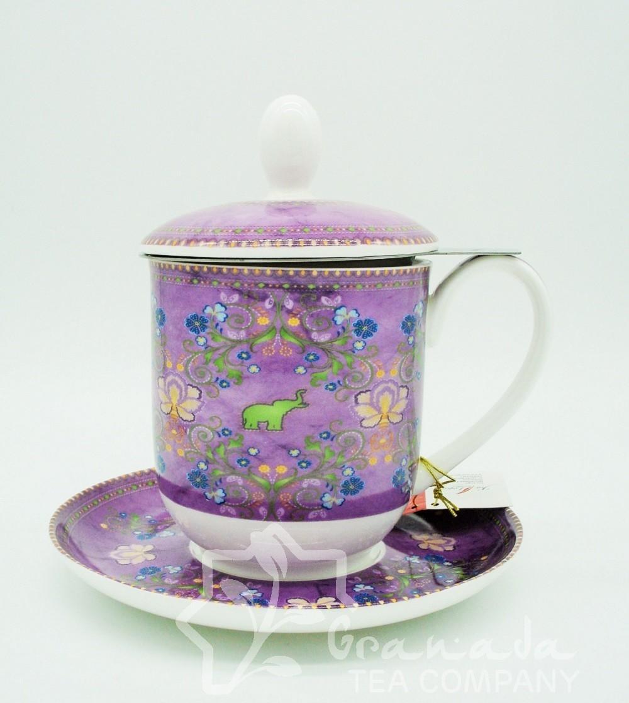 Mug Sari de porcelana con filtro, 350 ml.
