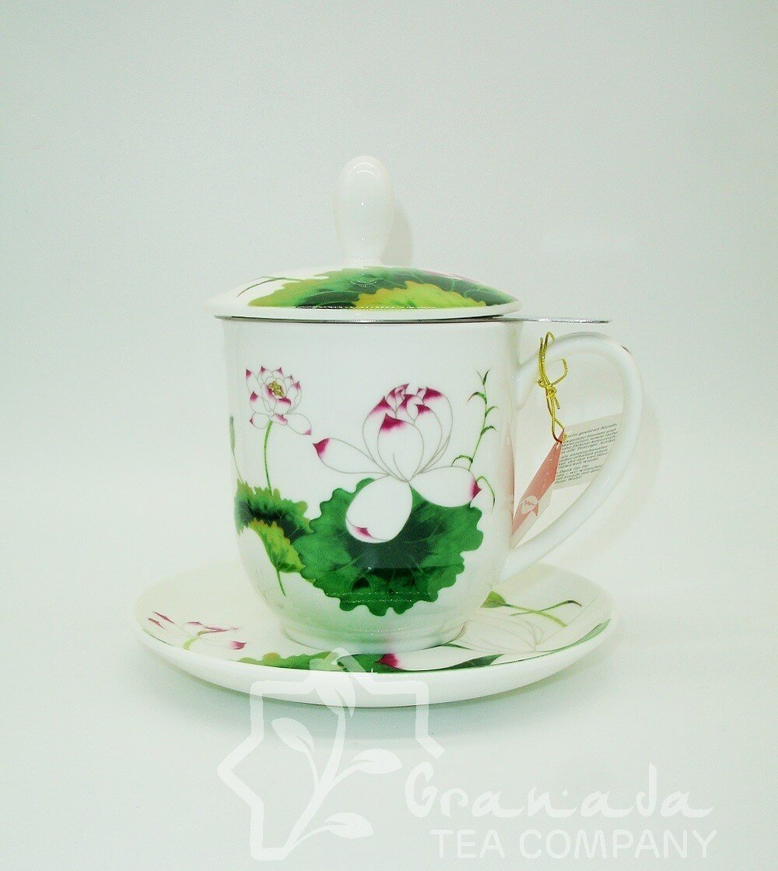 Mug Lotus de porcelana con filtro, 350 ml.