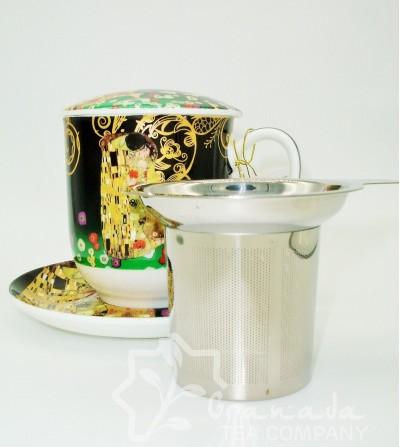 Mug Klimt de porcelana con filtro, 350 ml