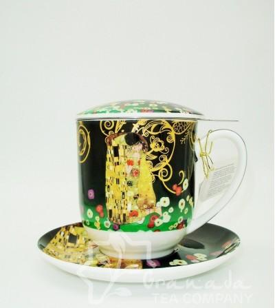 Mug Klimt de porcelana con filtro, 350 ml.