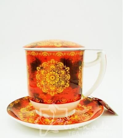 Mug Tiziana de porcelana con filtro, 350 ml.