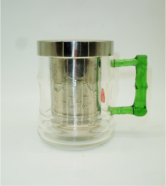 Tetera-Taza Cristal Bambú 450 ml. con Filtro