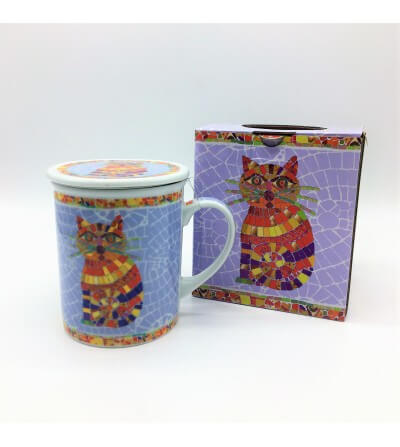 Mug con filtro Gato Mosaico 350 cl.